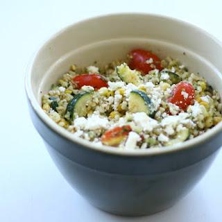 Tomato, Corn and Zucchini Salad with Brown Rice.