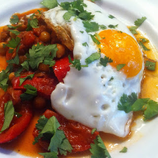 Merguez-spiced Peppers and Chickpeas with a Fried Egg topping