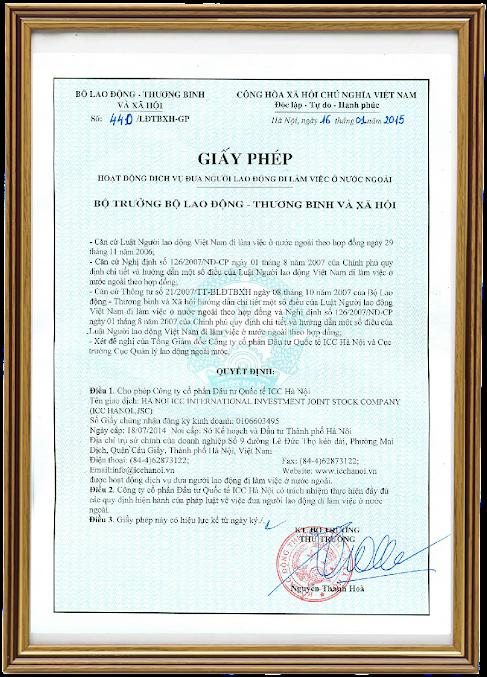 giấy phép XKLĐ ICC Hà Nội