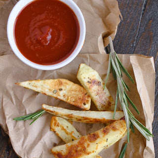 Oven Baked Rosemary Steak Fries with Homemade Ketchup.