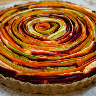 Vegetable Rose Tart With Cheesy Sun-Dried Tomato Filling [Vegan, Gluten-Free]