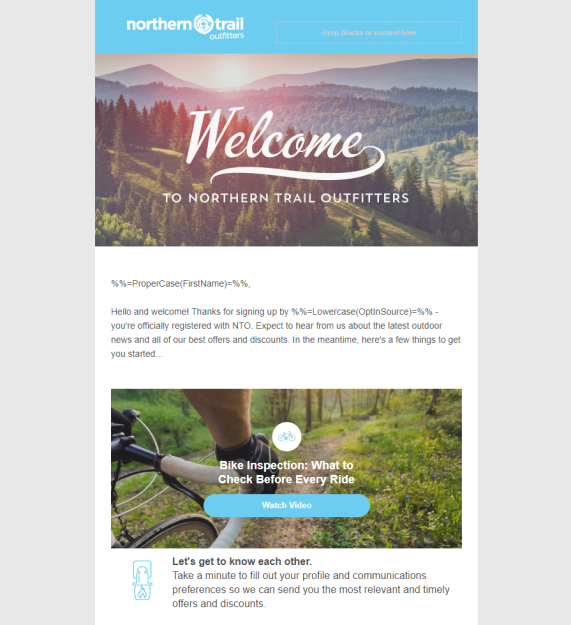 The template for Northern Trail Outfitters created in Content Builder.