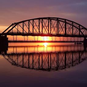 Reflections by Alison Gimpel - Landscapes Sunsets & Sunrises ( mirrored reflections, sunrises, reflections, lake superior, sunrise, duluth minnesota, rivers, bridges,  )