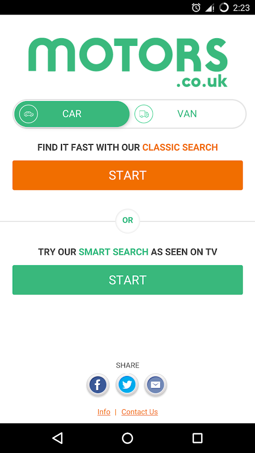 Motors.co.uk car search- screenshot
