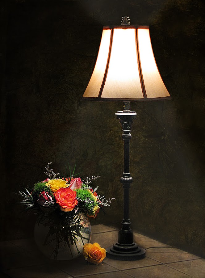 EVENING by Sharon Pierson - Artistic Objects Other Objects ( dark, roses, lamp, valentine, flowers )