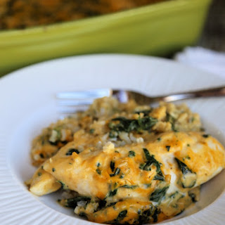 Cheesy Spinach Chicken and Rice Casserole