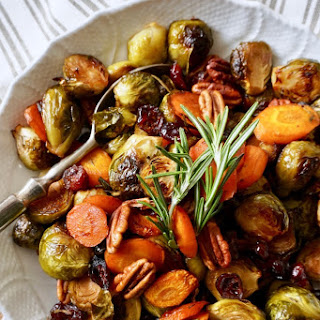 Easy Holiday Roasted Vegetables with Pecans and Cranberries Recipe