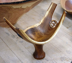 Photo: A fresh walnut branch junction might end up looking like this -- with some walnut slices imbedded in the carving.
