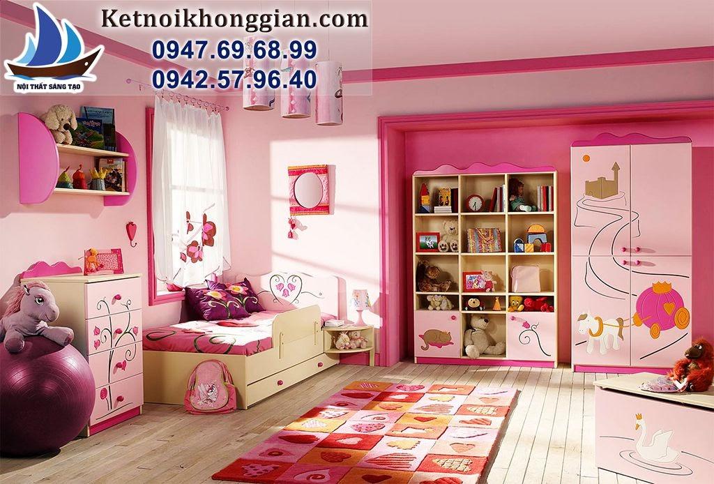 thiết kế phòng ngủ bé gái phong cách tự nhiên
