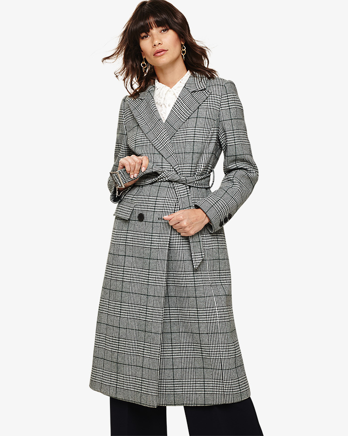Slimming Long Checked Trench Coat - Phase Eight