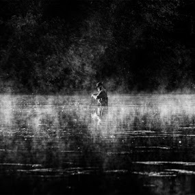 by Vincent Yates - Landscapes Waterscapes ( black and white, lake, morning, fisherman, misty,  )