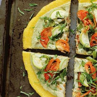 Polenta Pizza With Herbed Cashew Ricotta [Vegan, Gluten-Free]