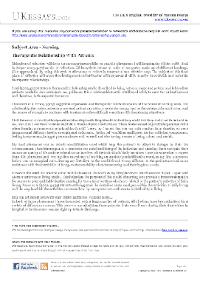 Examples of reflective essays in nursing using gibbs model