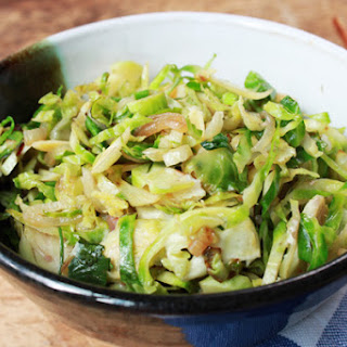 Shaved Brussels Sprouts with Shiitake Mushrooms