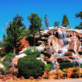 Sedona Waterfall by Dave Walters - Landscapes Waterscapes ( nature, waterfall, canon rebel, colors, landscape )