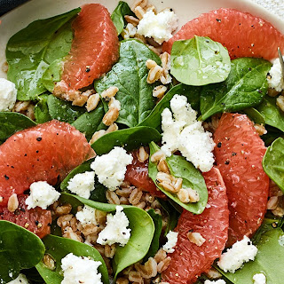 Farro and Spinach Salad with Grapefruit and Goat Cheese Recipe