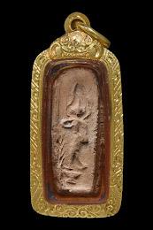 พระลีลาข้างเเจกัน หลวงพ่อพริ้ง ปี 2460 เนื้อดิน วัดบางปะกอก กทม. เลี่ยมทองเเท้ หายาก องค์ที่ 2