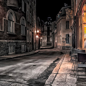 An another single street in Old Quebec by Clermont Poliquin - Buildings & Architecture Public & Historical ( night lights, pwc83: night light )