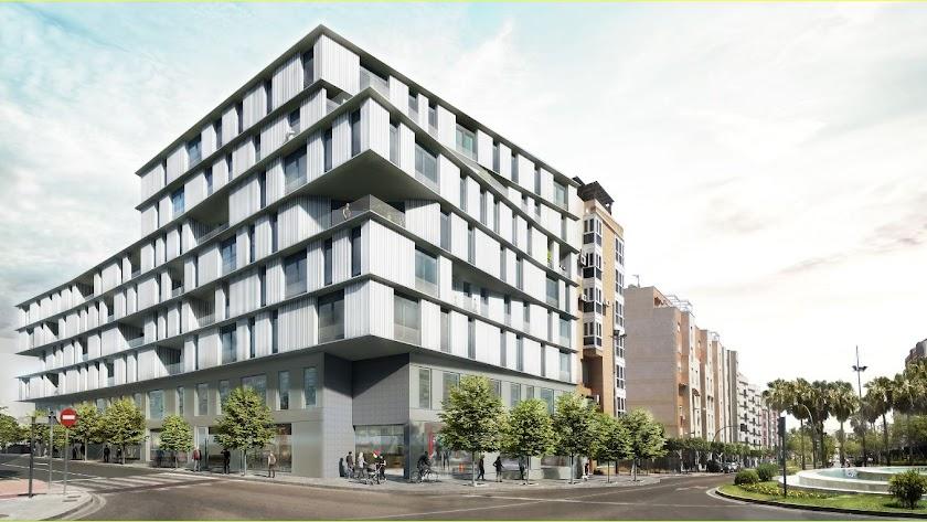 Imagen virtual del futuro edificio en los talleres de Piquer.
