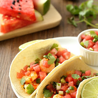 Spicy Shrimp Tacos with Watermelon Salsa.