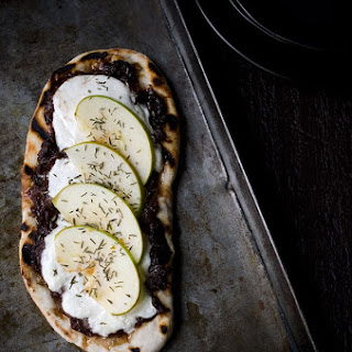 Grilled Flatbread with Port Onion Jam, Burrata and Apples.