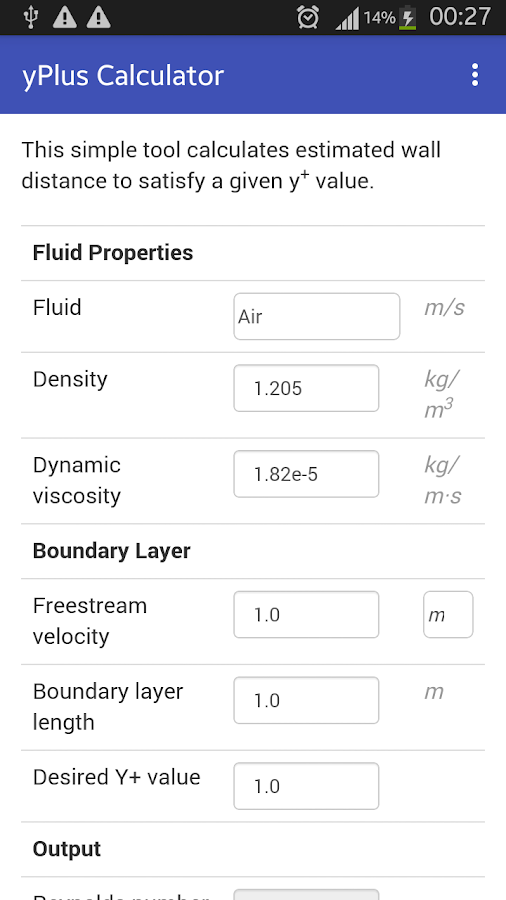 yPlus Calculator- screenshot