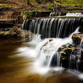 Caron Falls by Bill Frische - Landscapes Waterscapes ( water, waterfall, falls, blur, landscape, motion, caron )