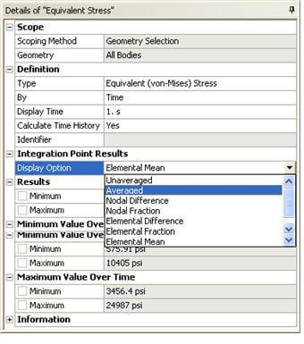 ANSYS Вы можете изменить параметры осреднения результатов, задав необходимый параметр Display Option в свойствах результата