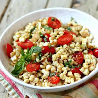 Fresh Corn and Tomato Salad with Balsamic Basil Dressing.
