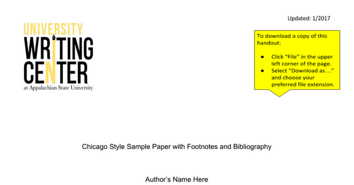 chicago style sample paper google docs