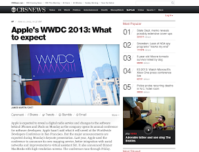 Photo: LINK: http://www.cbsnews.com/8301-205_162-57588473/apples-wwdc-2013-what-to-expect/?utm_source=feedburner&utm_medium=feed&utm_campaign=Feed%3A+CBSNewsHealthyLiving+(CBS+News%3A+Healthy+Living)