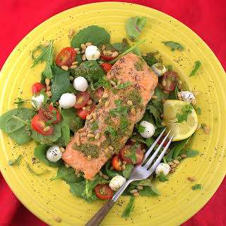 Grilled Salmon Salad Caprese.