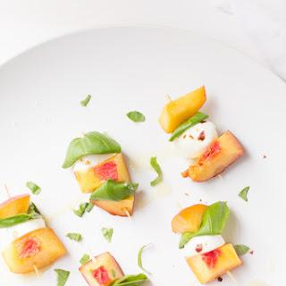 Peach, Basil, Mozzarella Bites