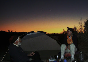 Photo: Twilight camp on the bluffs south of the NWR boundary (CA side). A new waxing moon flirts with Venus.