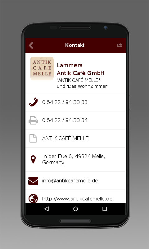 ANTIK CAFÉ MELLE – Screenshot
