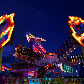 Bright lights by Lee Newman - City,  Street & Park  Amusement Parks ( funfair, ride, bright lights, fun, people )