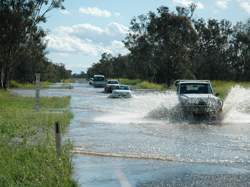 Vehicles were down to a single lane at the Glencoe Channel on the Kamilaroi Highway, near Wee Waa, on Wednesday afternoon.