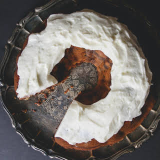 Nutella Swirl Bundt Cake with Fluffy Cream Cheese Frosting.