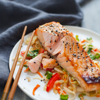 Green Tea Marinated Salmon with Asian Slaw Recipe