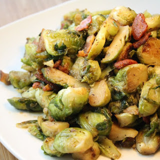 Bourbon & Maple Braised Brussel Sprouts with Bacon.