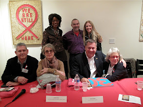 Photo: GMHC's Art & AIDS: 30 Years Standing (L to R): Marjorie Hill, CEO, GMHC; Charles Leslie, Co-Founder, Leslie-Lohman Museum of Gay and Lesbian Art; Regan Hofmann, Editor-in-Chief, POZ Seated (L to R): Osvaldo Perdomo, Co-Curator, Art & AIDS: 30 Years; Cynthia O'Neal, Co-Founder & President, Friends In Deed; Bertil Lindblad, Director UNAIDS New York Office; Mary Fisher, Artist, Activist and Author  http://directory.poz.com/articles/GMHC_Art_AIDS_2051_21553.shtml