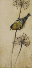 "Photo: ""Goldfinch"" ©2011 LMcNee 12x6 mixed media on board"