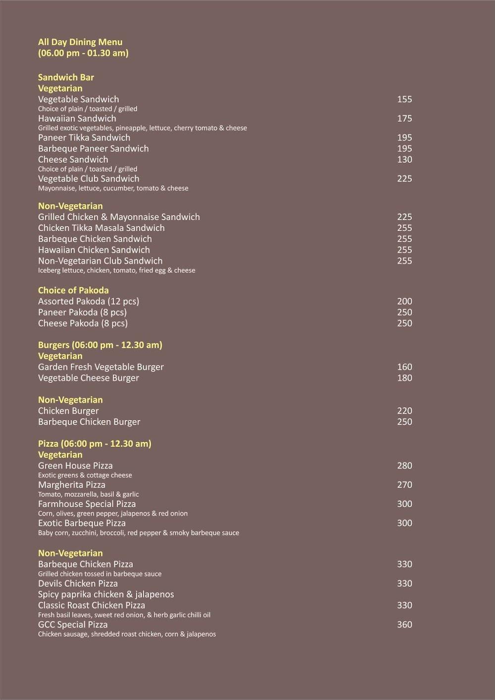 The Oaks - Lounge & Bar - GCC Hotel & Club menu 2