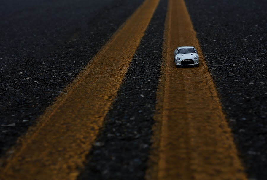 Follow The Line by Michael Hensley - Artistic Objects Other Objects ( car, toy, line, yellow, road )