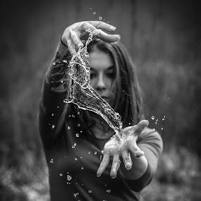 Dark Water by Kyle Re - Black & White Objects & Still Life ( clear, water, blackandwhite, macro, highspeed, kylerecreative, black and white, beautiful, fine art photography, fine art, artistic, dark,  )