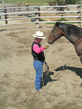 Photo: Making a 'Horseman's Halter' with your lariat: Start with a good size loop.