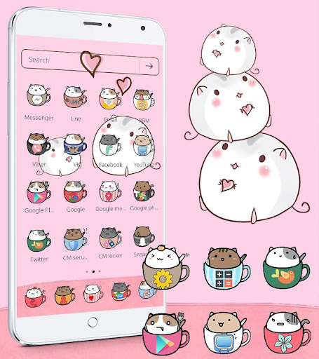 Cute Cup Cat Theme Kitty Wallpaper & icon pack screenshot 1
