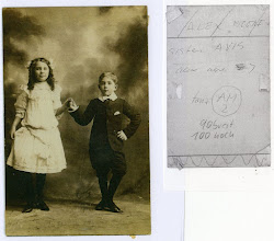 Photo: Alex at age 7 with his sister Avis. Back of photo (right)