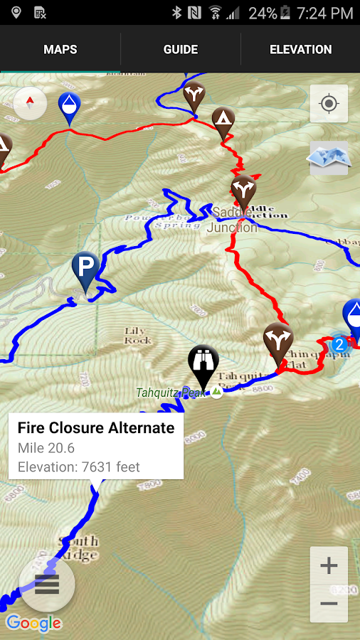 Guthook's PCT Guide- screenshot