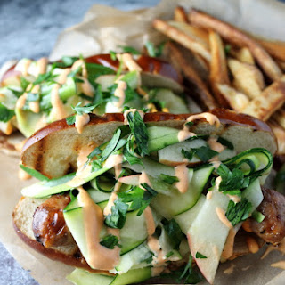 Bratwurst + Zucchini and Apple Slaw + Sriracha Aioli